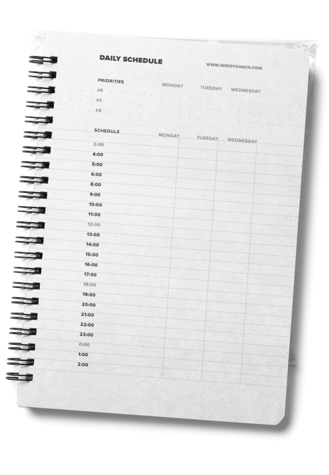 Daily schedule page, displayed on a spiral notebook.