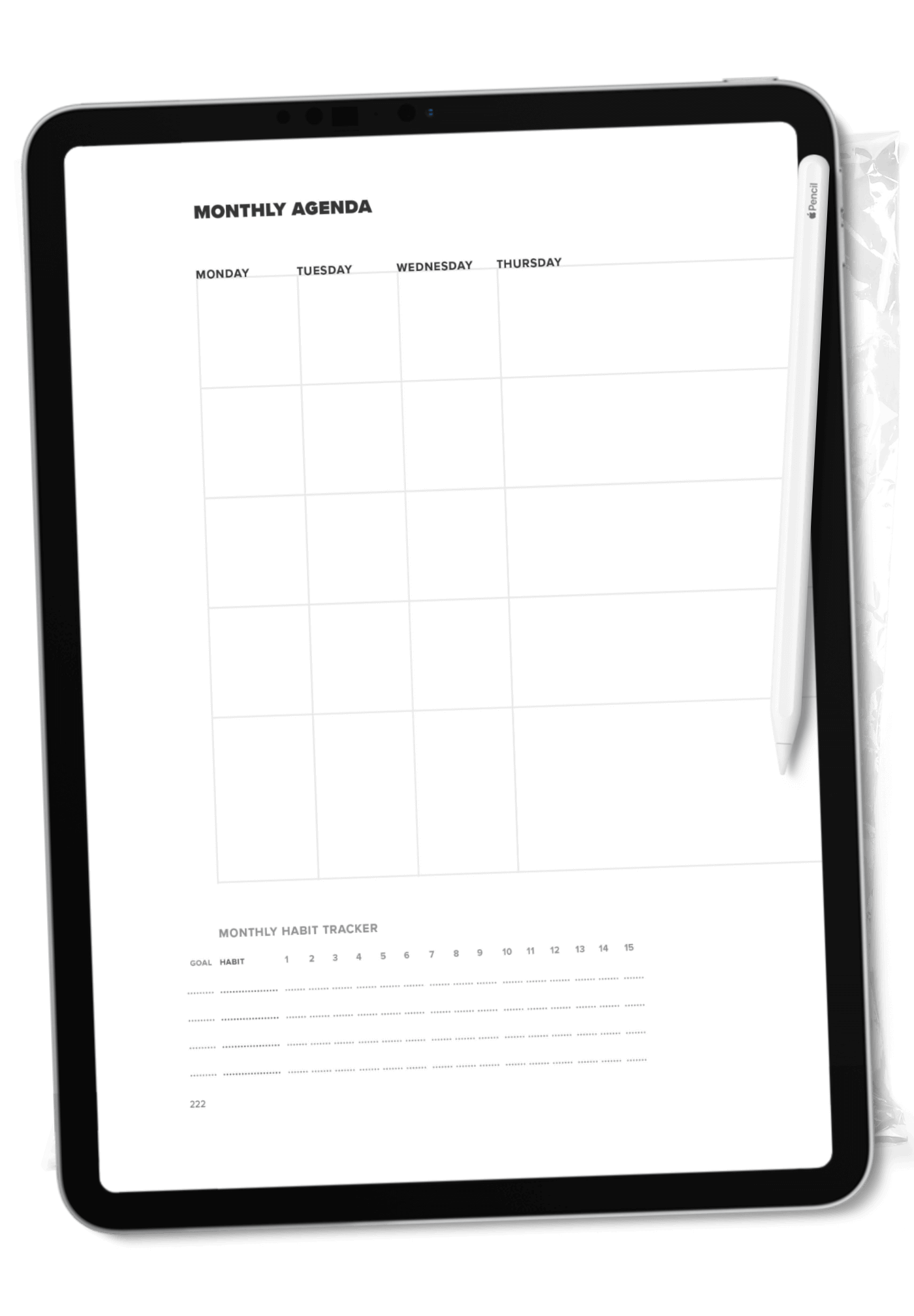 Monthly agenda page, displayed on an iPad